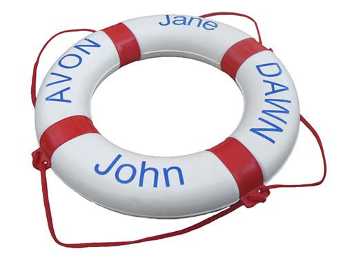 """Personalised Life Ring - """"Avon / Dawn / Jane / John"""""""