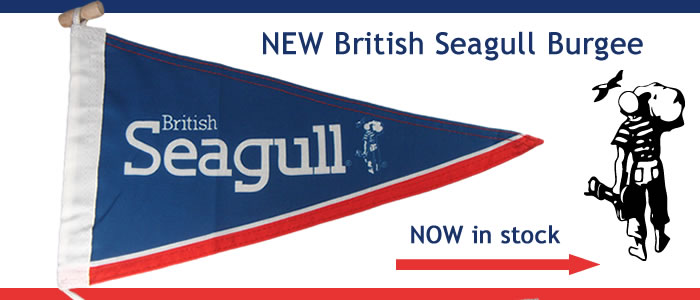 Pre-order the new British Seagull Outboard Burgee now. The British Seagull Flag features the Seagull 'Man Logo' and the words British Seagull on a blue, red and white flag.