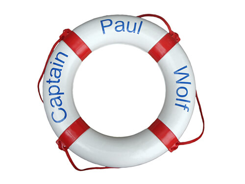 "Personalised Life Ring - ""Captain / Paul / Wolf"""