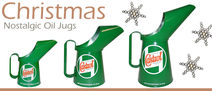Get nostalgic at Christmas with these classic green paint metal Castrol Oil Jugs