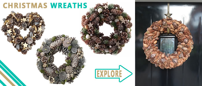 Hang a lovely, natural, wreath on your front door this Christmas. Explore and buy here.