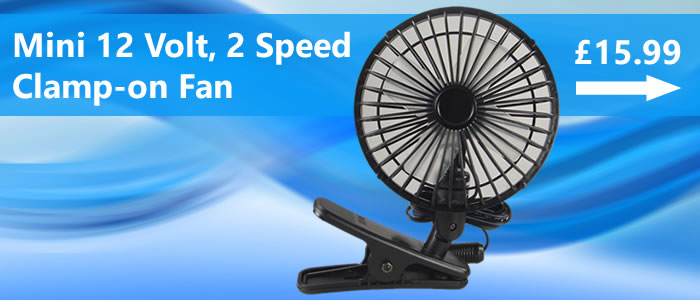 Stay cool while cruising this Summer with a compact 12 volt cooler fan with two speeds and rail clamp fitting.