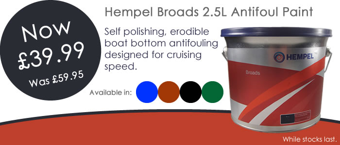 Hempel Broads 2.5L Antifoul Paint Price Crash. Now only £39.99 for a limited time, usually £59.95.