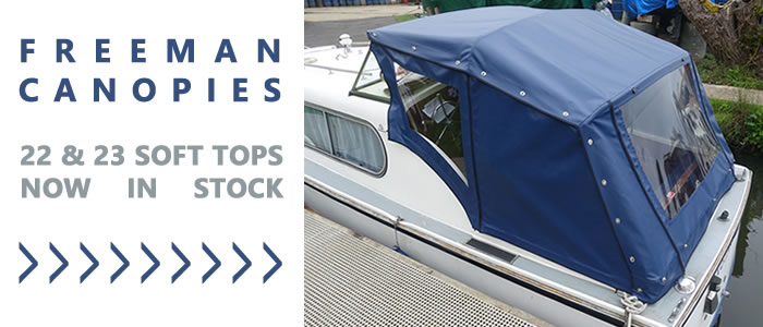 Freeman 22 & 23 soft top canopies are back in stock.