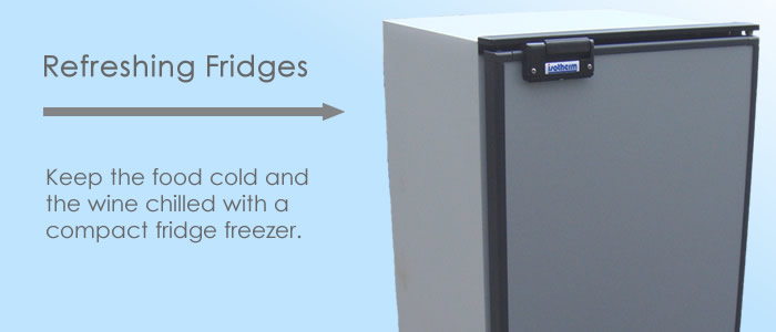 Keep the food cold and the wine chilled with a compact fridge freezer.