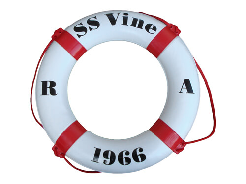 "Personalised Life Ring - ""SS Vine / R / A / 1966"""