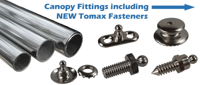 Extensive range of boat canopy fittings & fixtures including the all new range of Tomax fittings.