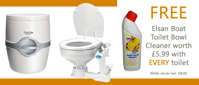Get a FREE bottle of Elsan Boat Toilet Bowl Cleaner with every toilet when ordered online!