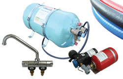 A typical hot water system, calorifier, water pump, taps and hose.