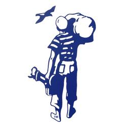 British Seagull 'Man' Logo Sticker - Clear Background