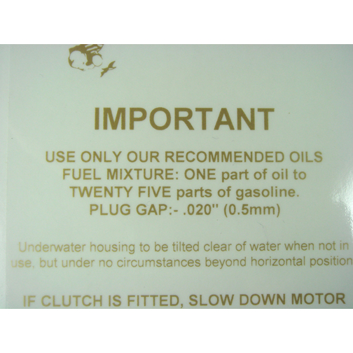British Seagull 10:1 fuel tank sticker Decal for painted fuel tank