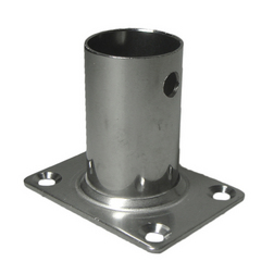 Stainless Steel Rectangle Flagstaff Socket - Straight