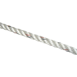 Marlow White 3 Strand Rope with Black & Red Fleck - 8mm x 1m