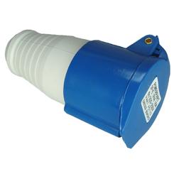 Mains 230V 3 Pin Socket - IP44 (Blue)