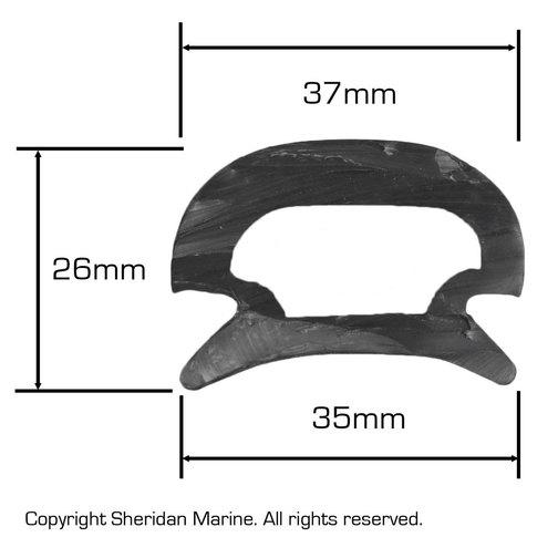 Boat Rubbing Strake Rubber 35mm Channel Insert Sheridan Marine