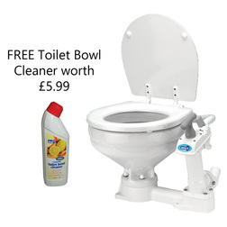 Jabsco Compact Bowl Manual 'Twist n' Lock' Toilet with FREE Toilet Bowl Cleaner