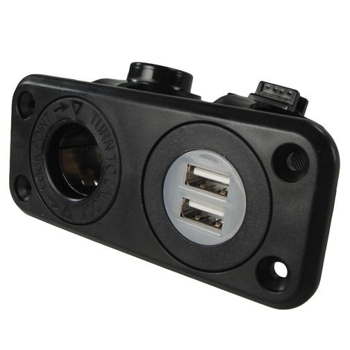 Recessed Mount Dual Usb  U0026 12 Volt Socket