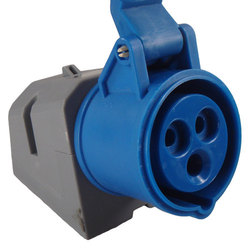 Angled Mains 230v Plug - IP44 (Blue)