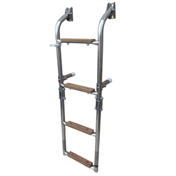 Wooden Step Boarding Ladder with 2 Fixed & 2 Folding Steps