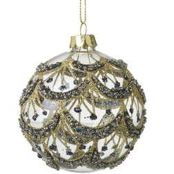 Black and Gold Chandelier Glass Christmas Bauble