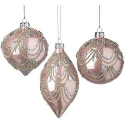 Blush Pink Garland Glass Christmas Bauble Set