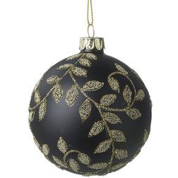 Gold Leaf Black Glass Christmas Bauble