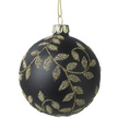 Gold Leaf Black Glass Christmas Bauble