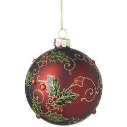 Holly Leaf Red Glass Christmas Bauble