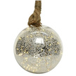 LED Mottled Glass Christmas Bauble with Hemp Rope