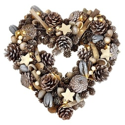LED Pinecone Heart Christmas Wreath