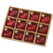 Mottled Red Hearts Glass Christmas Bauble Set