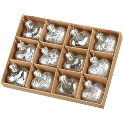 Mottled Silver Hearts Glass Christmas Bauble Set