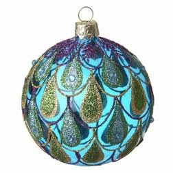 Peacock Blue Glass Christmas Bauble