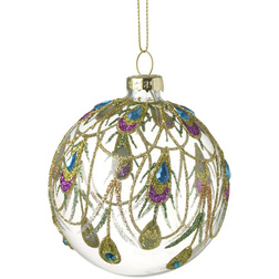 Peacock Clear Glass Christmas Bauble