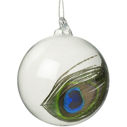 Peacock Feather Glass Christmas Bauble