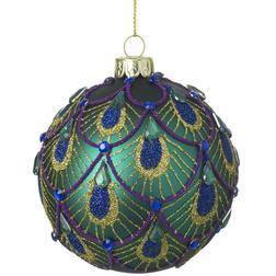 Peacock Gem Glass Christmas Bauble