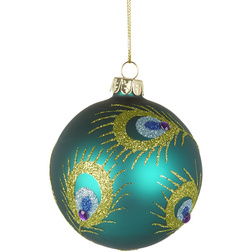 Peacock Glitter Feather Glass Christmas Bauble