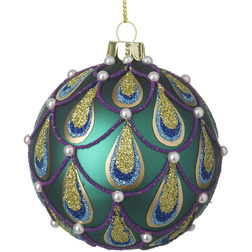 Peacock Pearl Glass Christmas Bauble