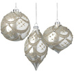 Pearl White Garland Glass Christmas Bauble Set