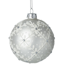 Pearl White Leaf Glass Christmas Bauble