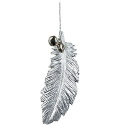 Silver Feather & Bells Christmas Hanger