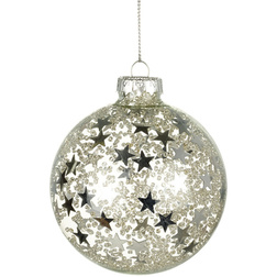Silver Star Glass Christmas Bauble