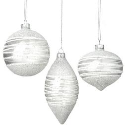 Silver Swirl Glitter Glass Christmas Bauble Set
