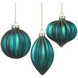 Turquoise Jewel Glass Christmas Bauble Set