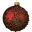 Vintage Red & Gold Star Glass Christmas Bauble