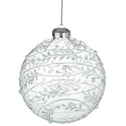 White Leaf Clear Glass Christmas Bauble