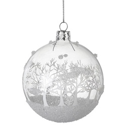 Winter Forest Glitter Glass Christmas Bauble