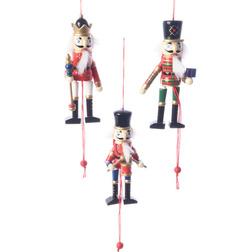 Wooden Nutcracker Pull Puppet Christmas Hanger Set