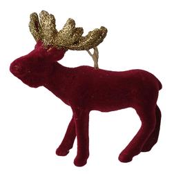 Burgundy Velvet Moose Christmas Hanger