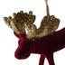 Burgundy Velvet Moose Christmas Hanger Close Up